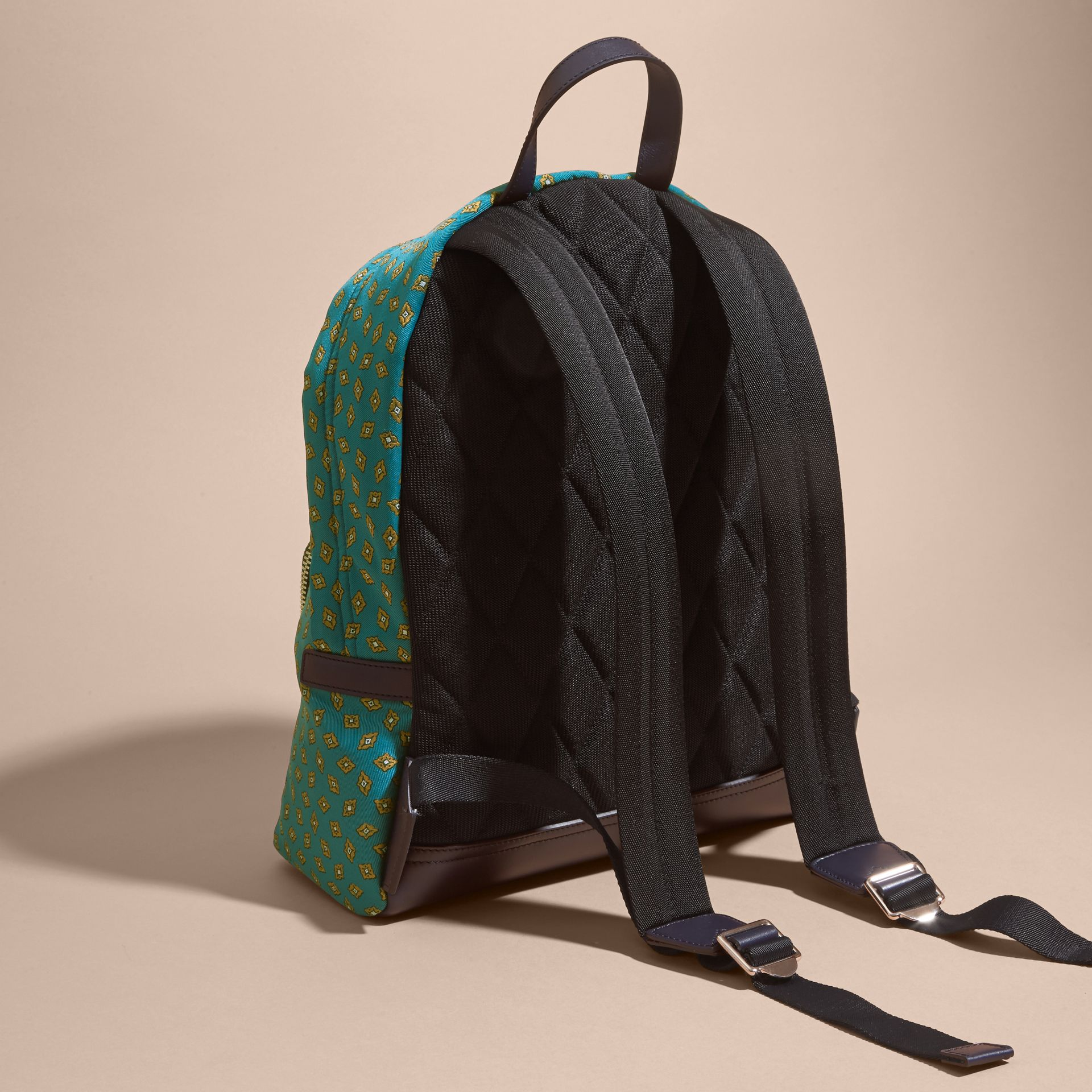 Dark teal Leather Trim Abstract Jacquard Backpack Dark Teal - gallery image 4