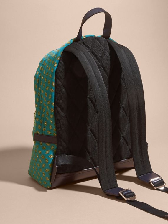Dark teal Leather Trim Abstract Jacquard Backpack Dark Teal - cell image 3