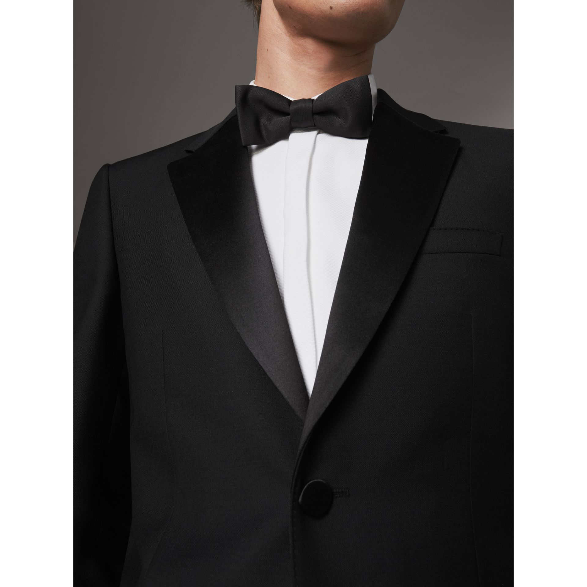 Modern Fit Wool Mohair Half-canvas Tuxedo in Black - Men | Burberry Australia - gallery image 3