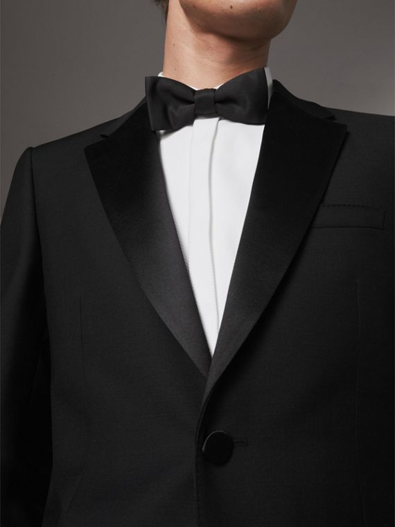 Modern Fit Wool Mohair Half-canvas Tuxedo in Black - Men | Burberry Australia - cell image 2