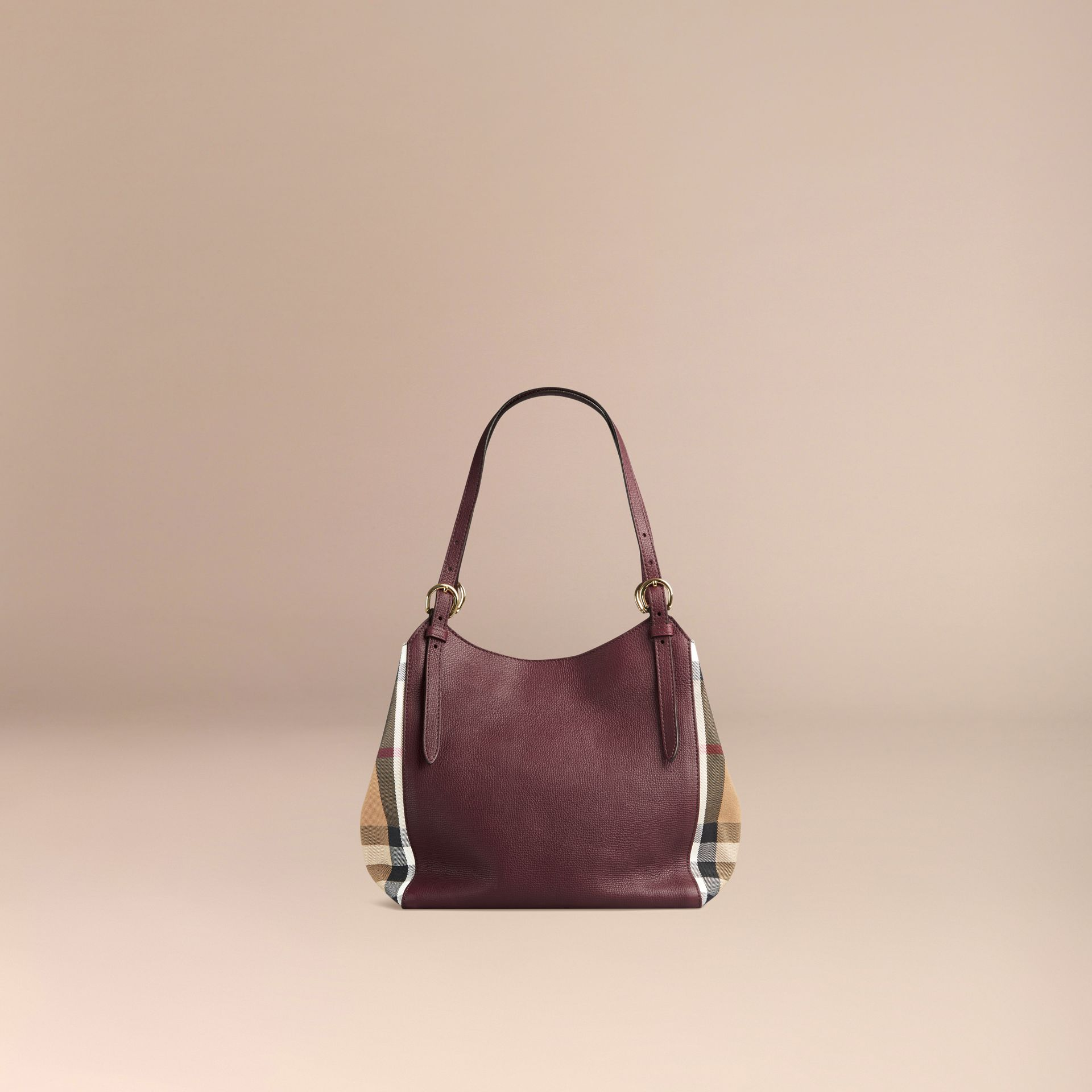 Rouge acajou Petit sac The Canter en cuir avec motif House check Rouge Acajou - photo de la galerie 4