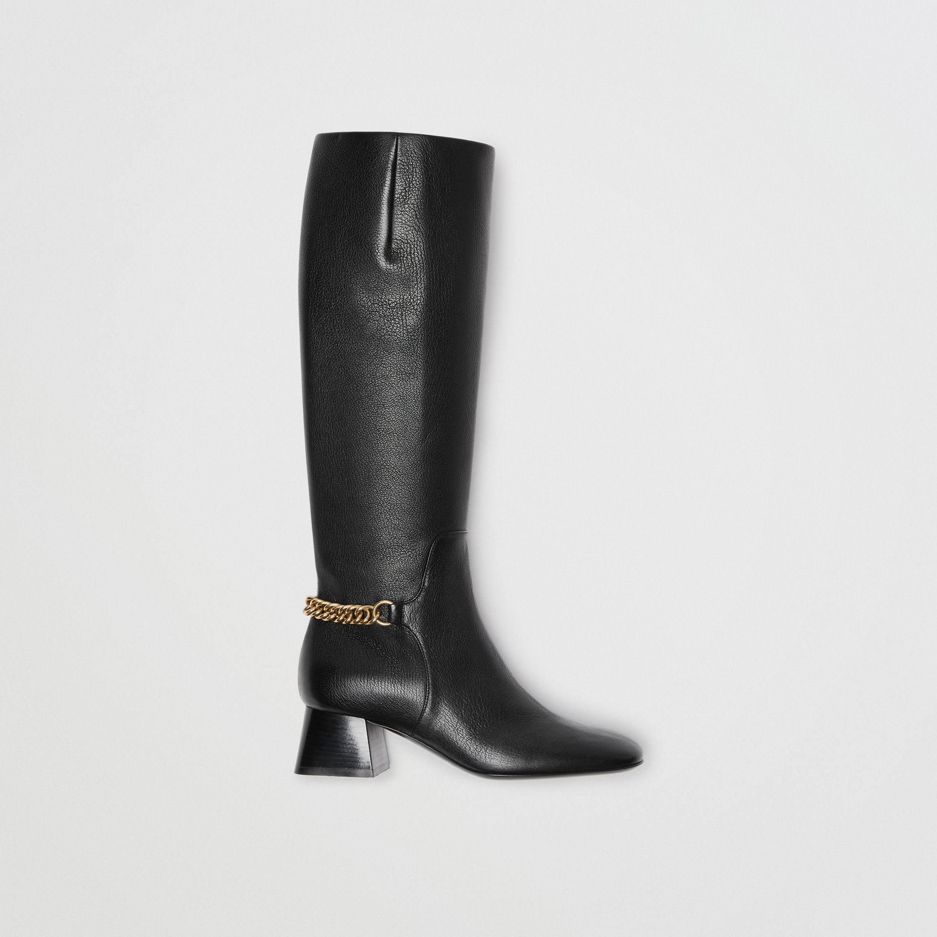 Link Detail Leather Knee-high Boots in Black - Women | Burberry - gallery image 0