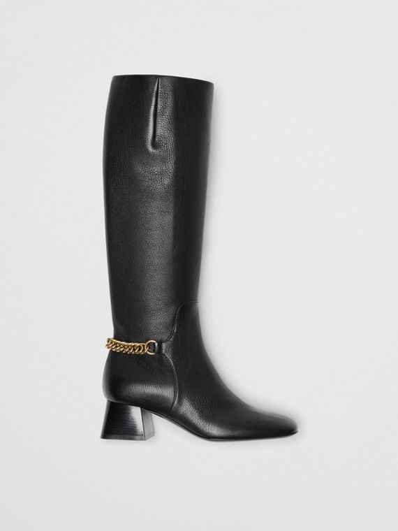 Link Detail Leather Knee-high Boots in Black