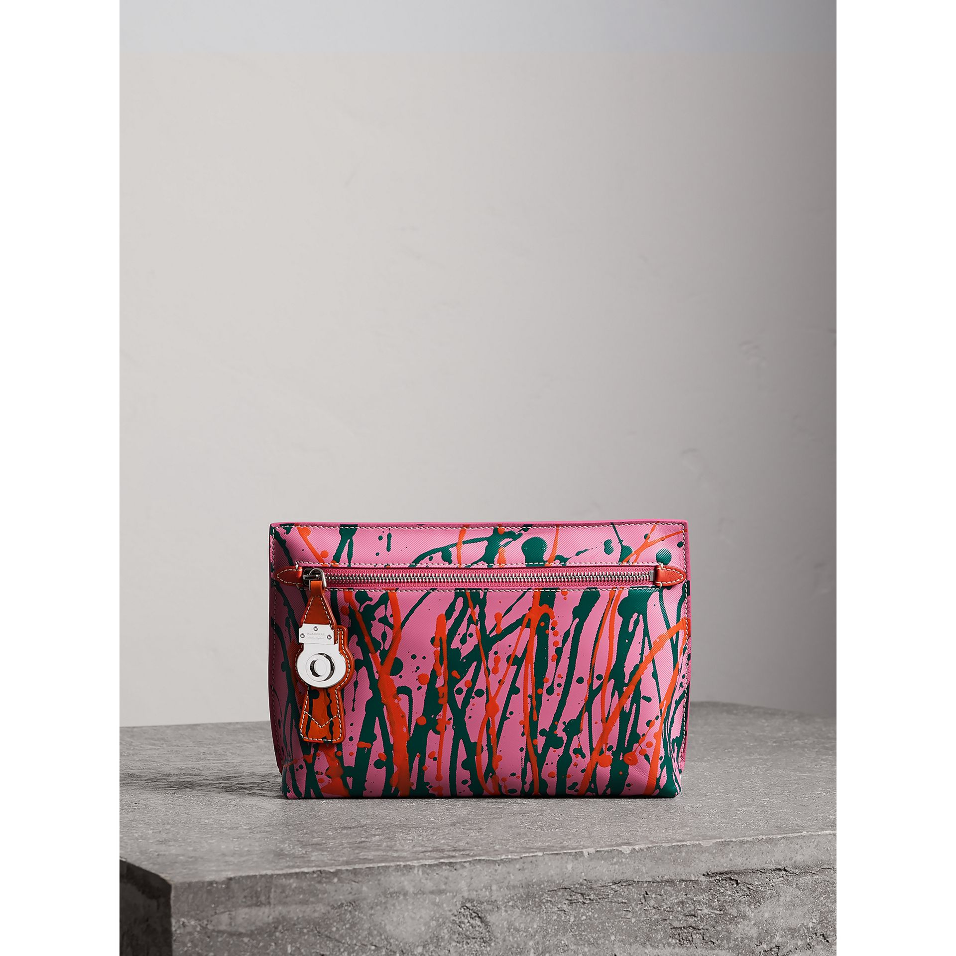 Splash Trench Leather Pouch in Rose Pink/orange Red - Women | Burberry - gallery image 0