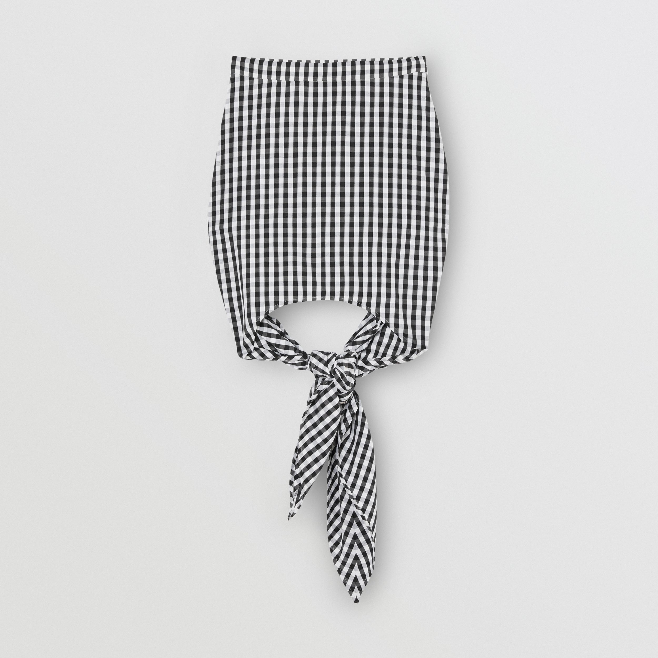 Scarf-tie Detail Gingham Technical Wool Mini Skirt in Black - Women | Burberry - 4