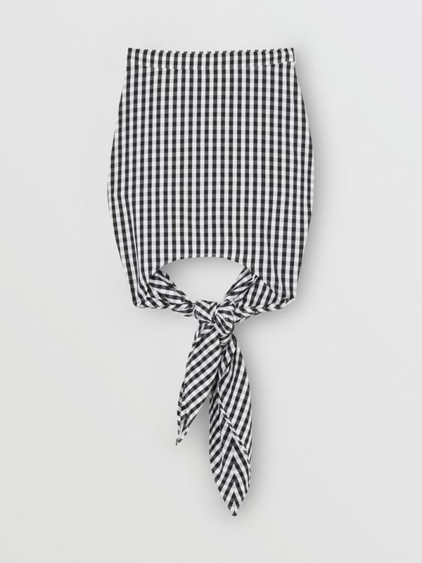 Scarf-tie Detail Gingham Technical Wool Mini Skirt in Black - Women | Burberry - cell image 3