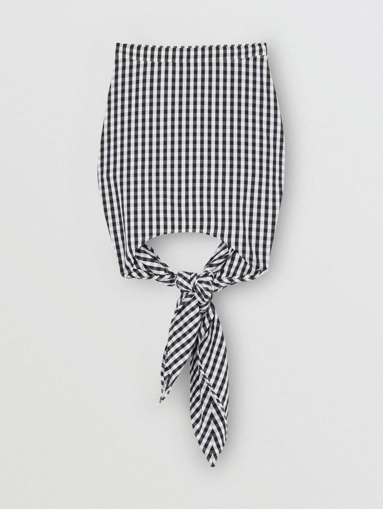 Scarf-tie Detail Gingham Technical Wool Mini Skirt in Black