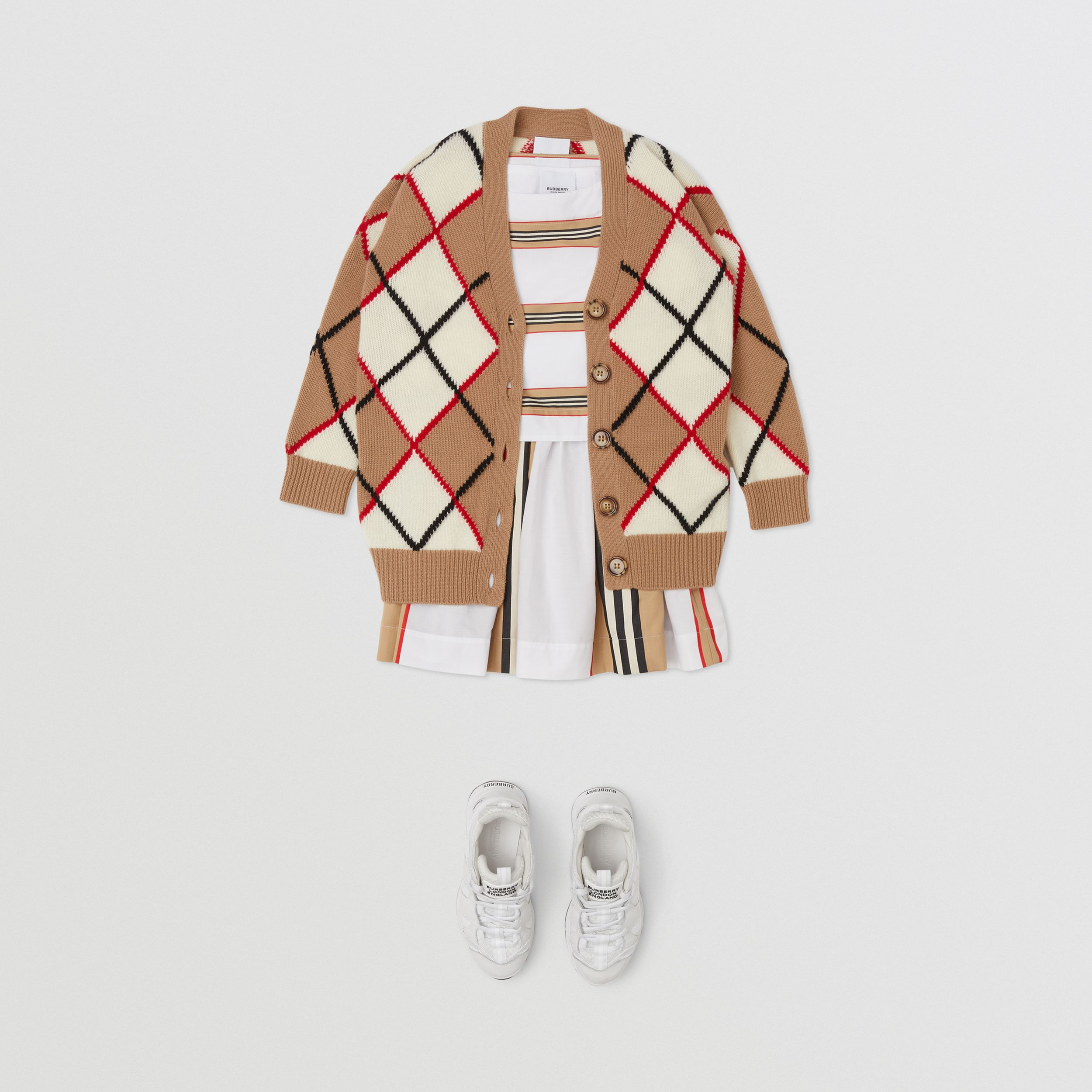Argyle Intarsia Wool Cashmere Cardigan in Camel | Burberry - 3