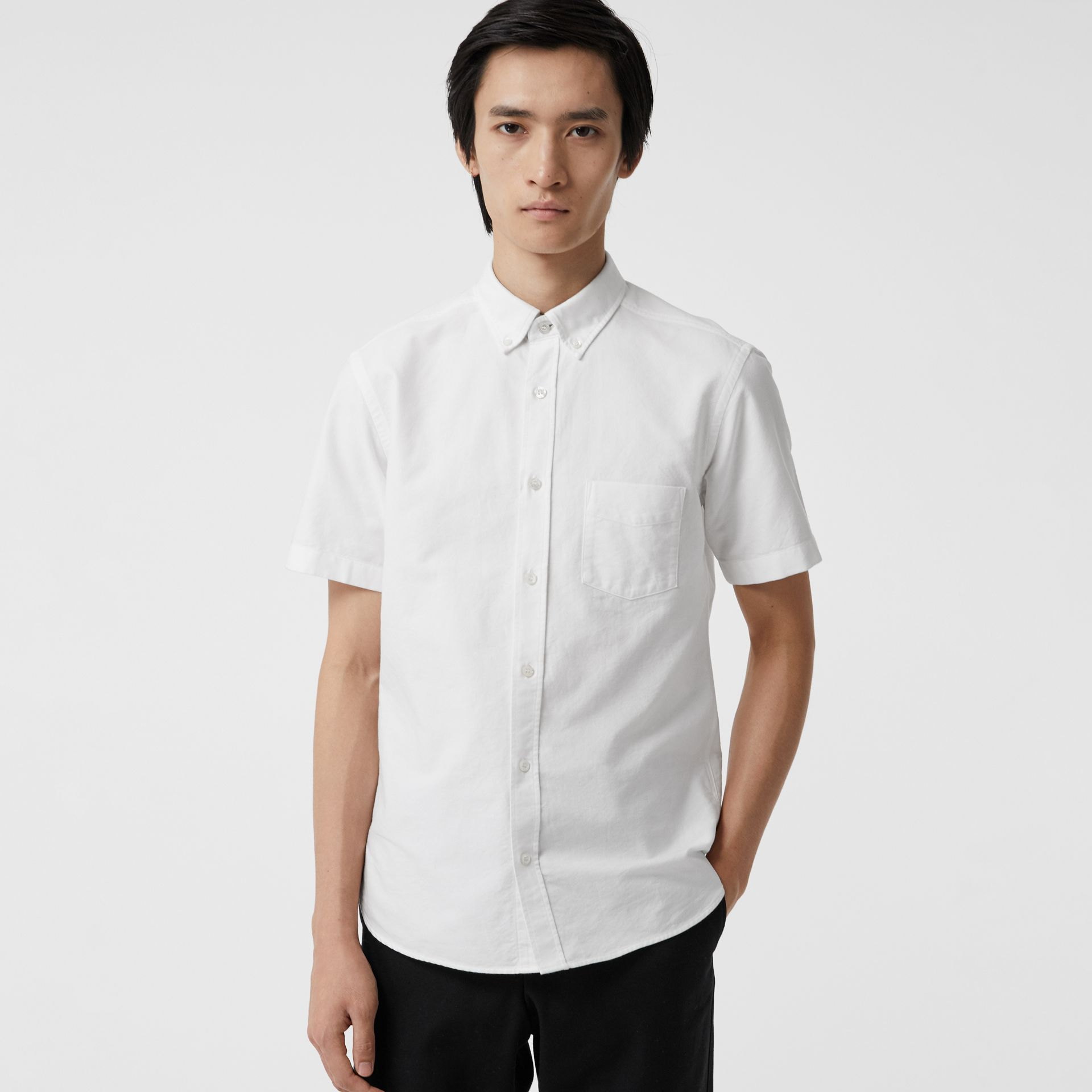 Short-sleeve Cotton Oxford Shirt in White - Men | Burberry Australia - gallery image 4