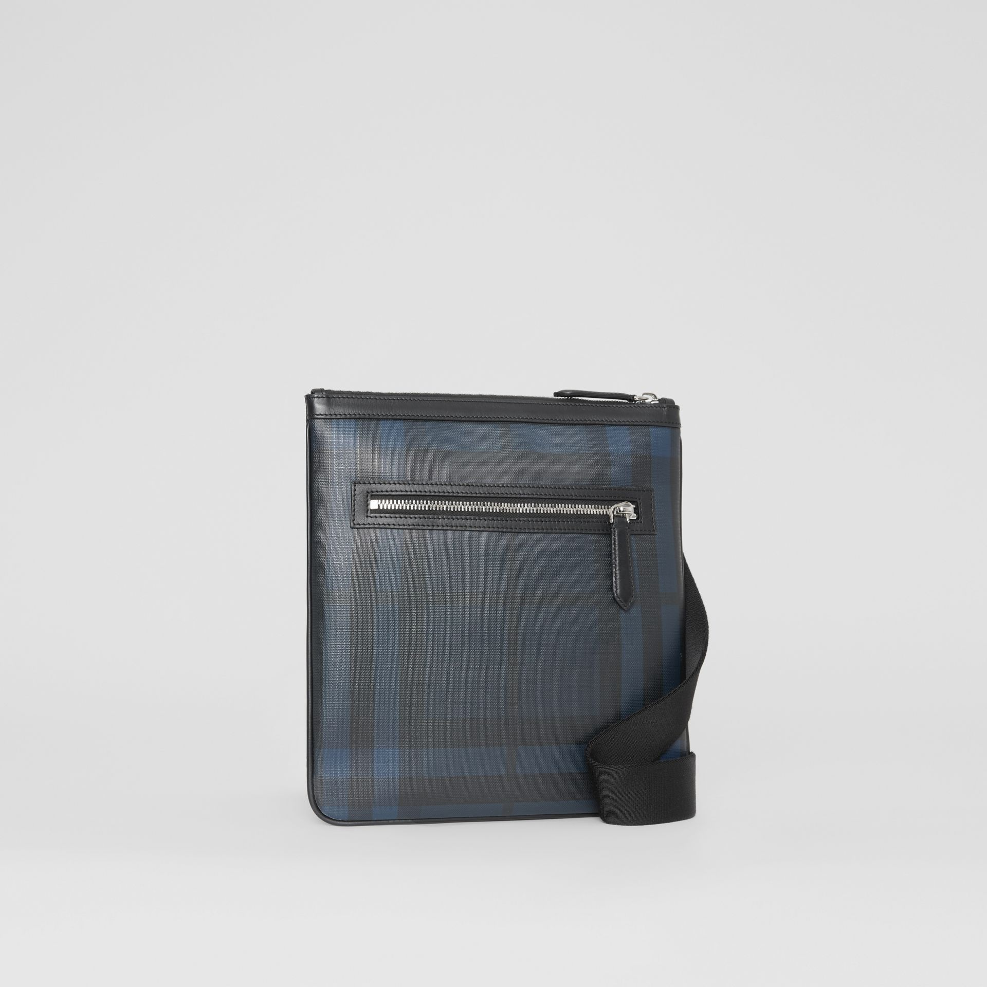 Leather Trim London Check Crossbody Bag in Navy/black - Men | Burberry United Kingdom - gallery image 6