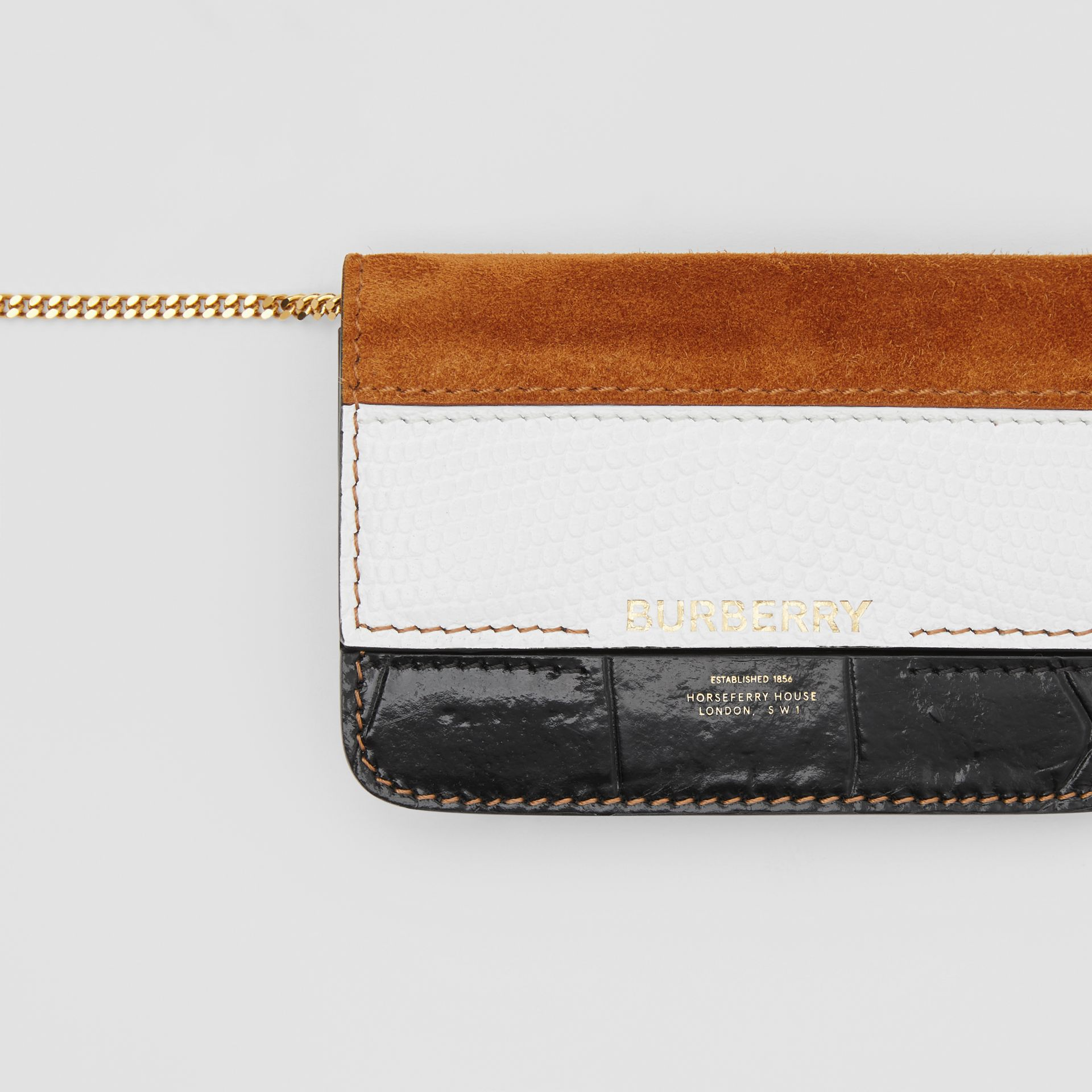 Suede and Leather Card Case with Detachable Strap in White/maple/black - Women | Burberry - gallery image 1