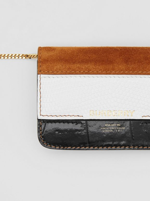 Suede and Leather Card Case with Detachable Strap in White/maple/black - Women | Burberry - cell image 1