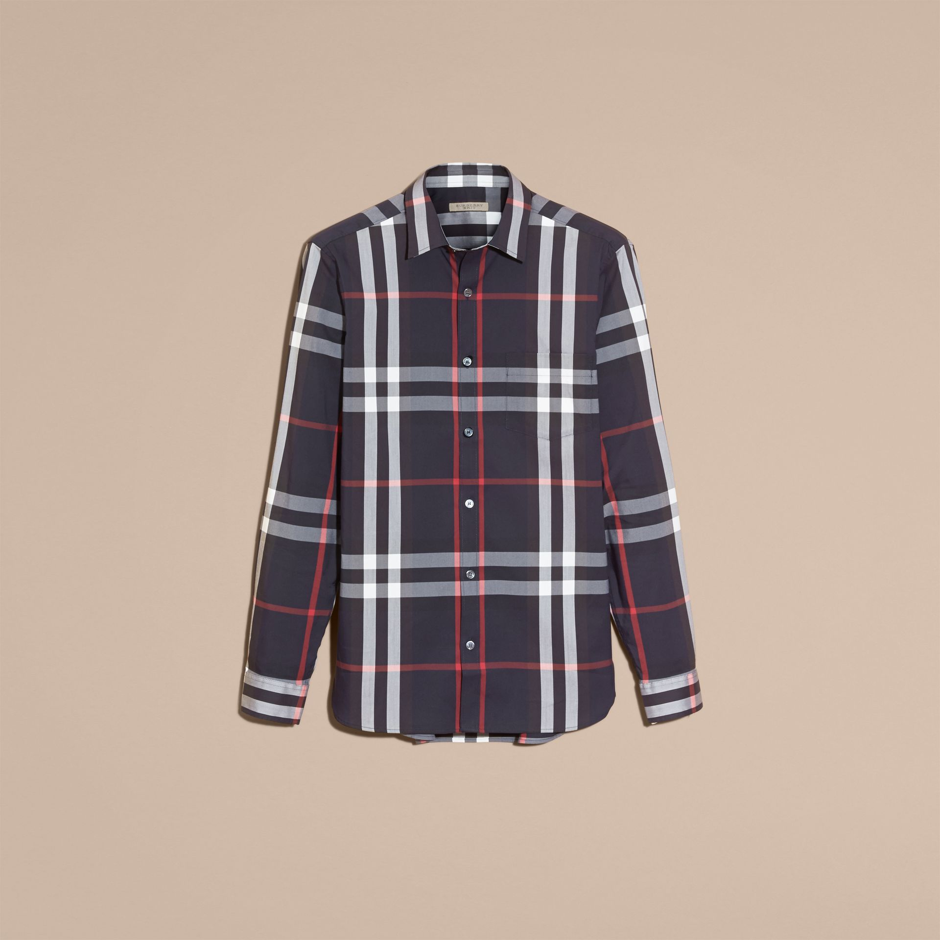Navy Check Stretch Cotton Shirt Navy - gallery image 4