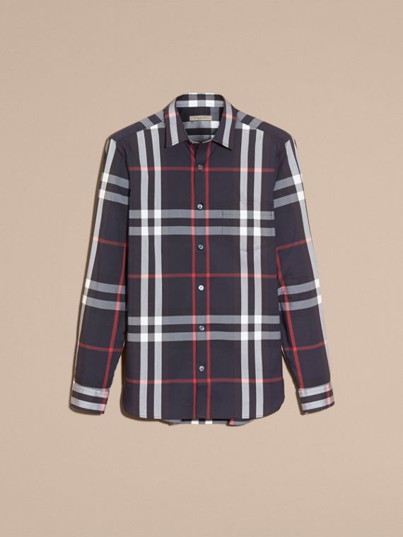 Navy Check Stretch Cotton Shirt Navy - cell image 3
