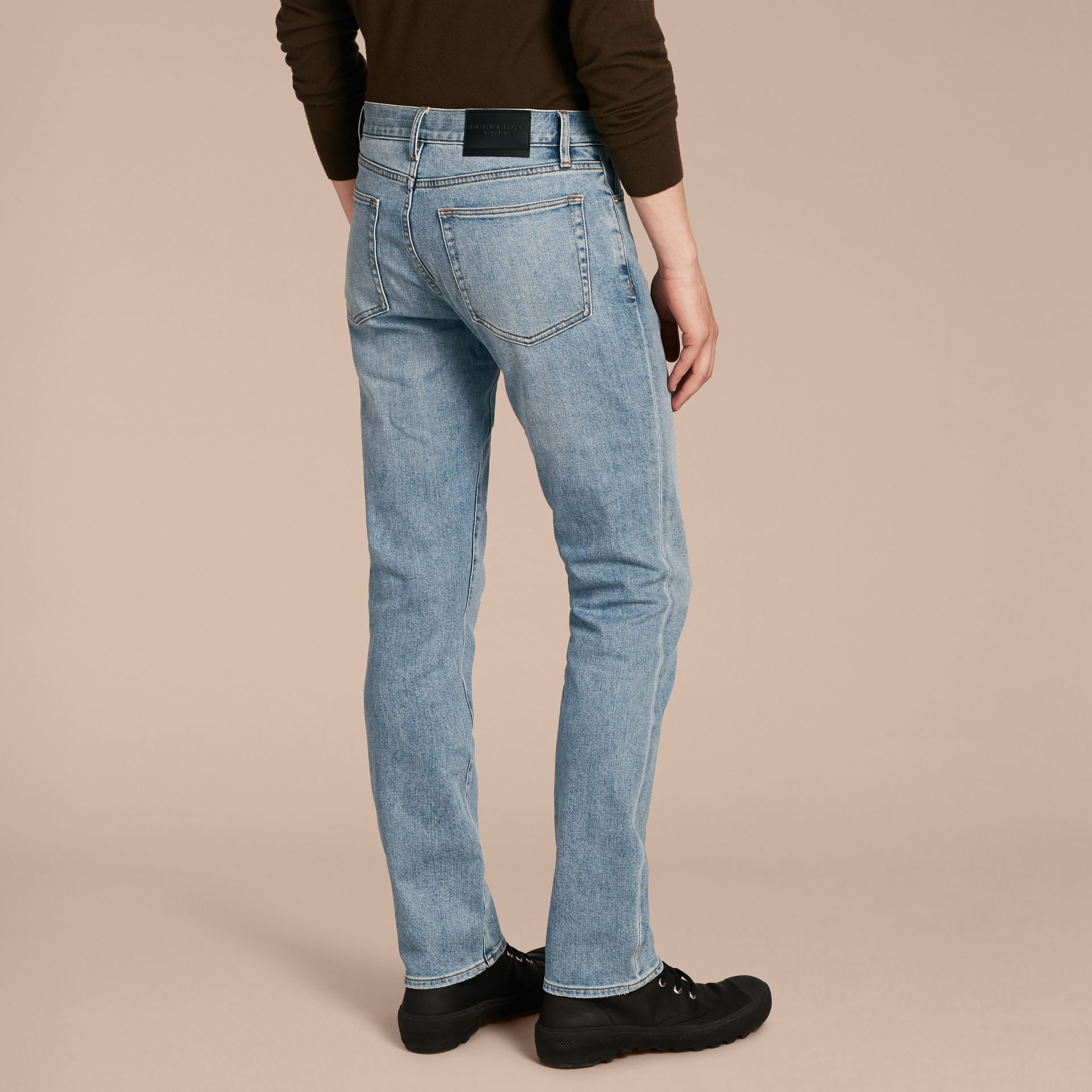 Straight Fit Comfort Stretch Japanese Denim Jeans in Light Indigo - Men | Burberry - gallery image 3