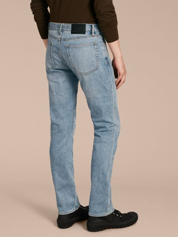 Indigo clair Jean stretch de coupe droite en denim japonais ultra-confortable - cell image 2