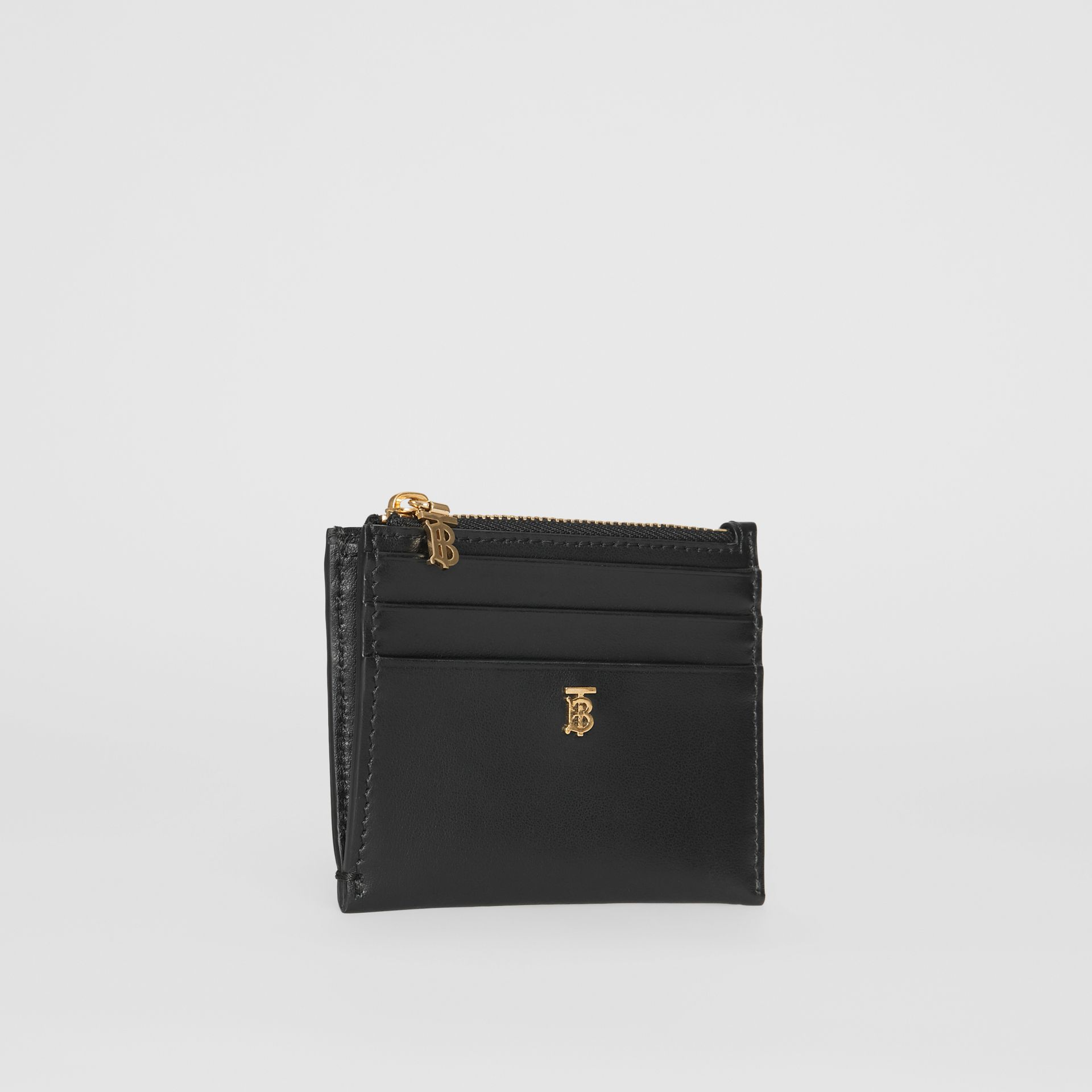 Monogram Motif Leather Zip Card Case in Black - Women | Burberry United States - gallery image 3