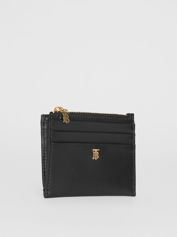 Monogram Motif Leather Zip Card Case in Black - Women | Burberry United States - cell image 3