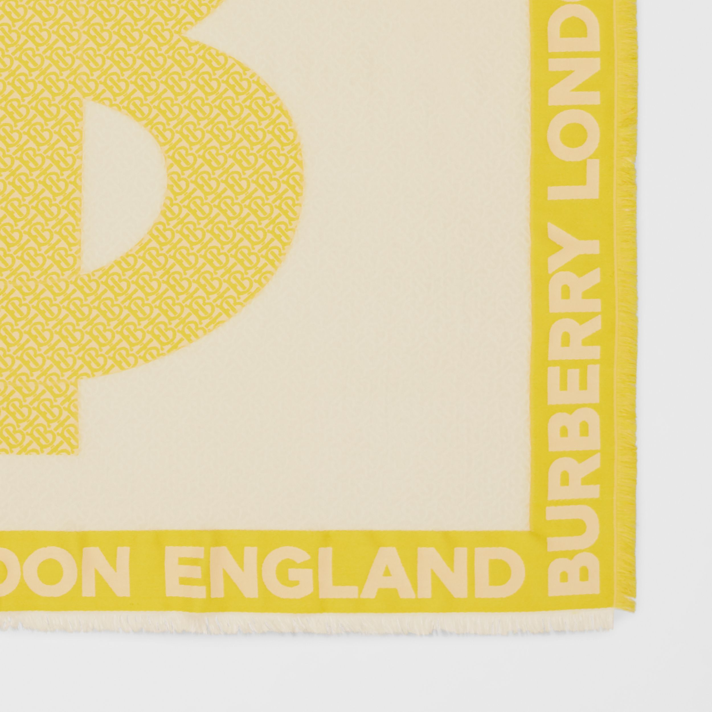 Monogram Fil Coupé Silk Blend Large Square Scarf in Yellow | Burberry - 2