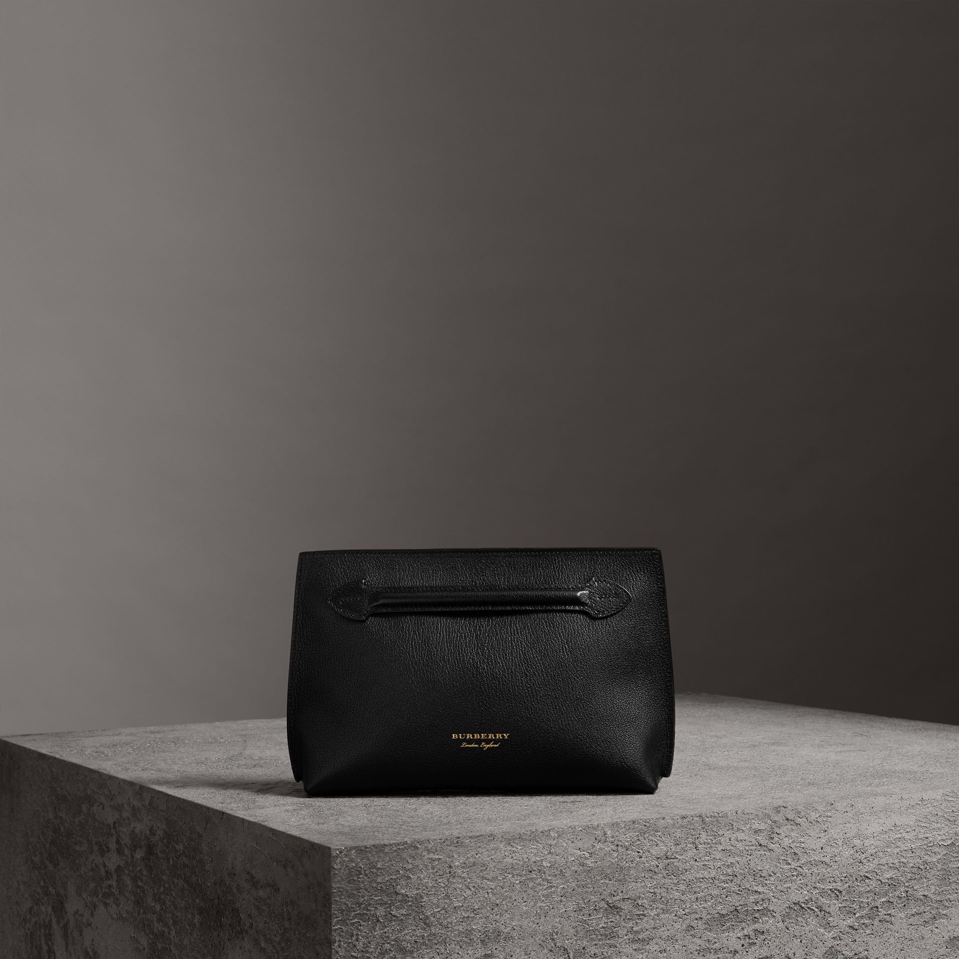 Grainy Leather Wristlet Clutch in Black - Women | Burberry Singapore - gallery image 0