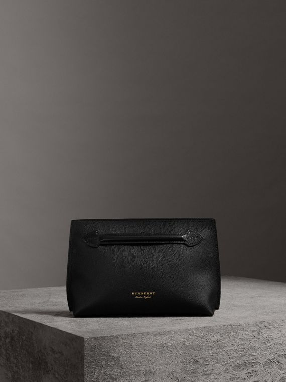 Grainy Leather Wristlet Clutch in Black