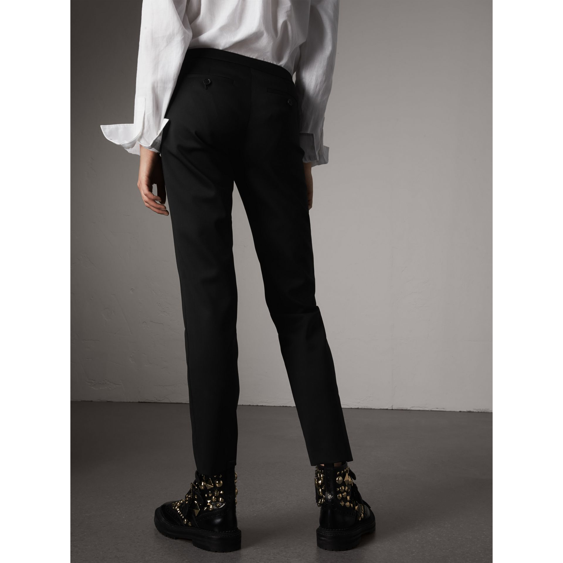 Slim-fit Stretch Wool Trousers in Black - Women | Burberry United States - gallery image 3