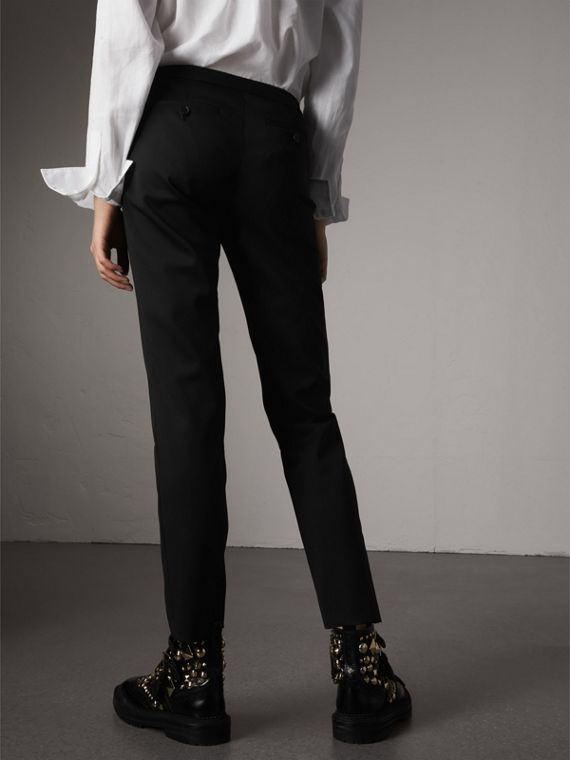 Slim-fit Stretch Wool Trousers in Black - Women | Burberry - cell image 2