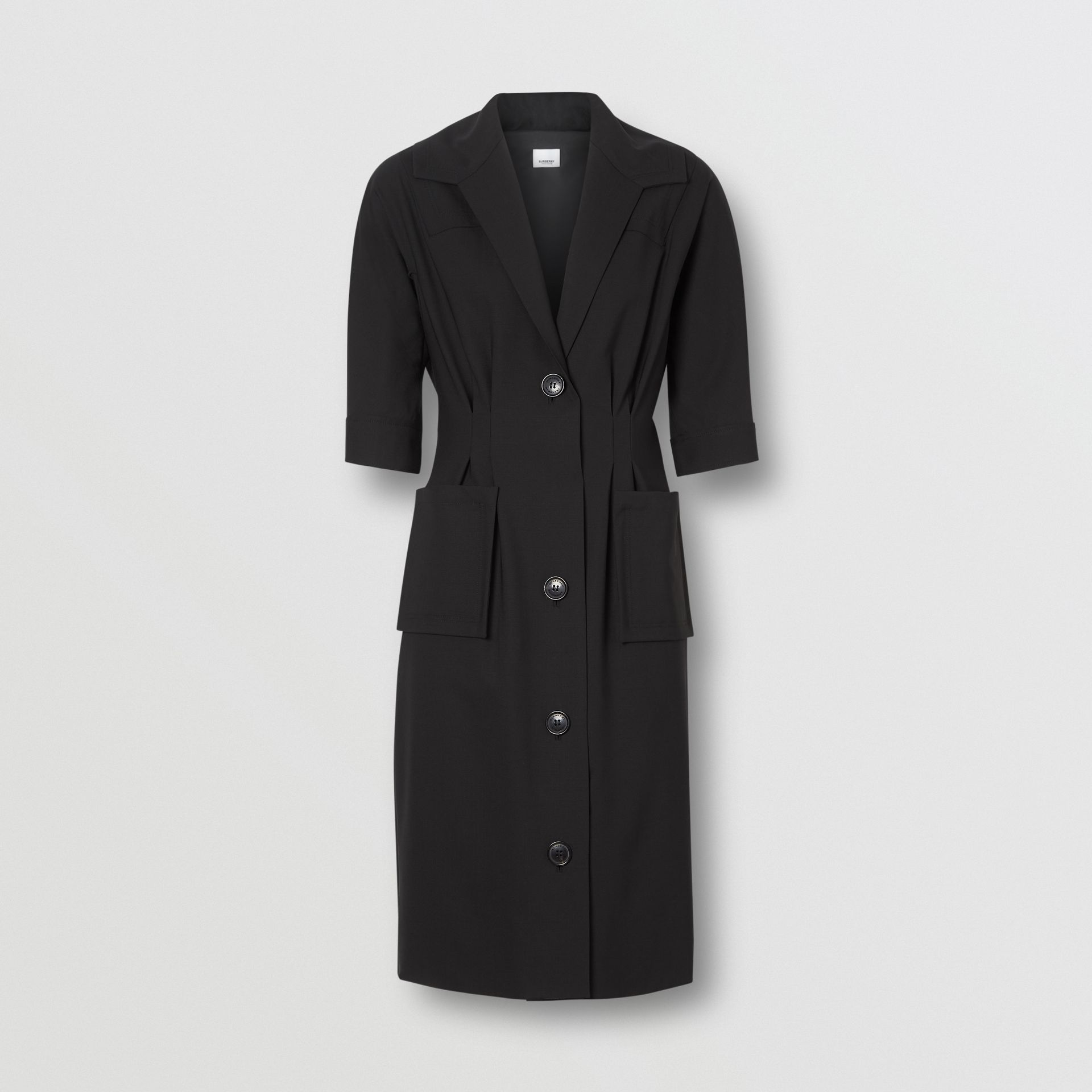 Short-sleeve Stretch Wool Dress in Black - Women | Burberry - gallery image 3
