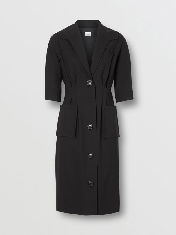 Short-sleeve Stretch Wool Dress in Black - Women | Burberry - cell image 3