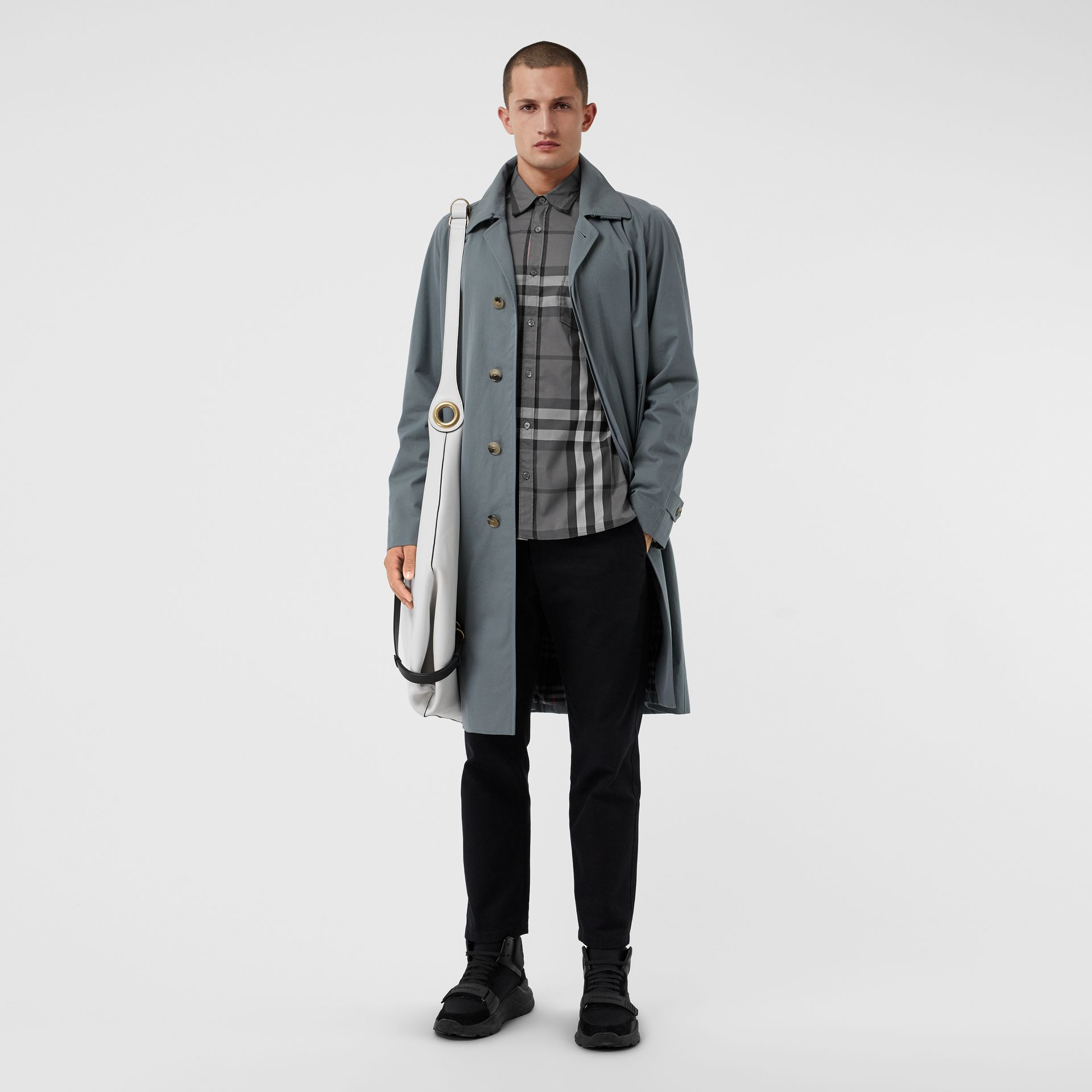 Check Stretch Cotton Shirt in Charcoal - Men | Burberry Canada - gallery image 4