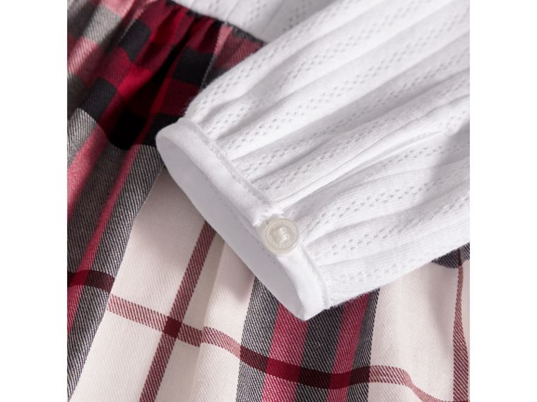 Pointelle and Check Cotton Dress in Crimson Red | Burberry - cell image 1