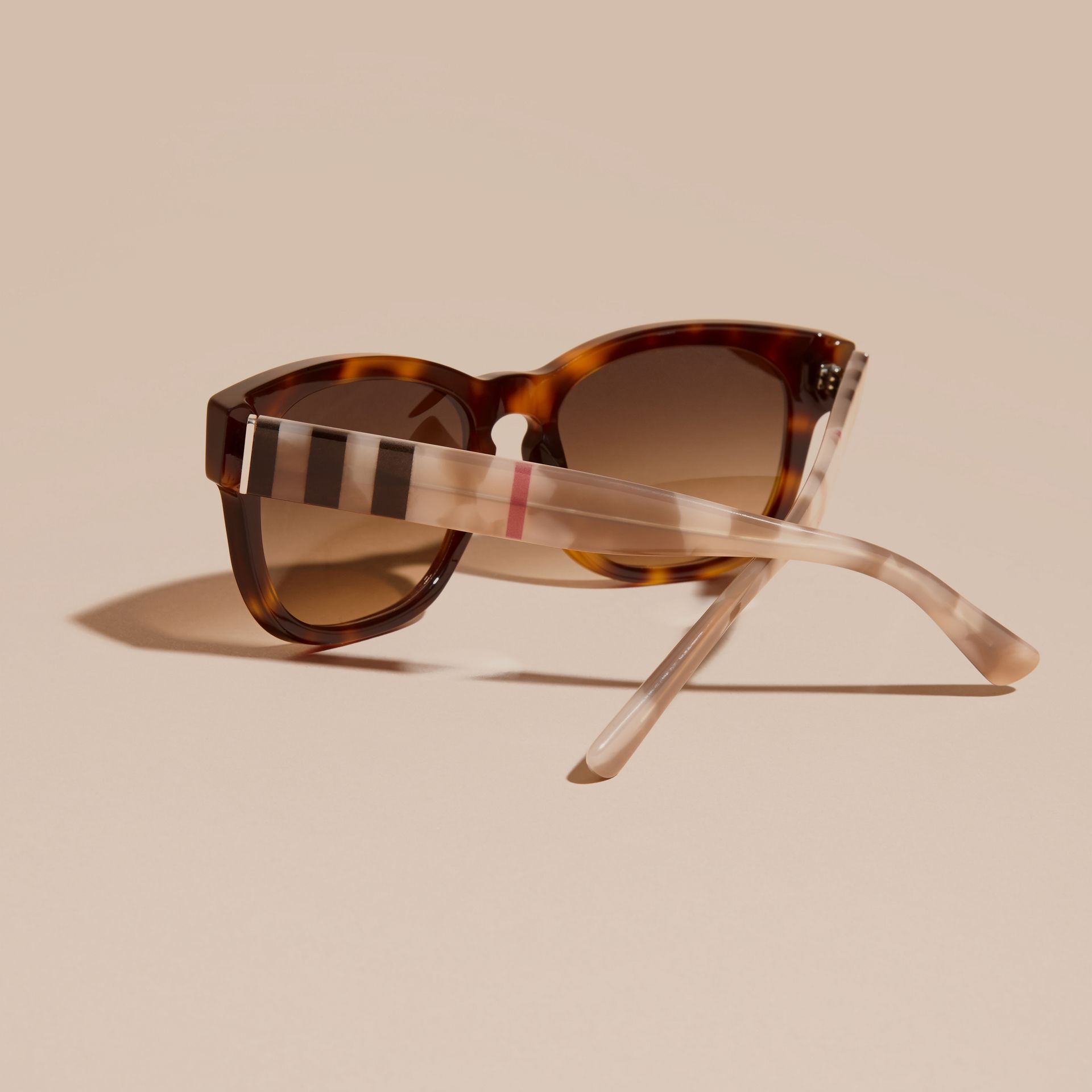 Check and Camouflage Detail Square Frame Sunglasses Light Russet Brown - gallery image 4