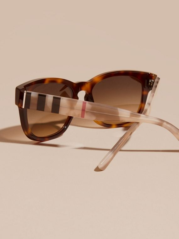 Check and Camouflage Detail Square Frame Sunglasses Light Russet Brown - cell image 3