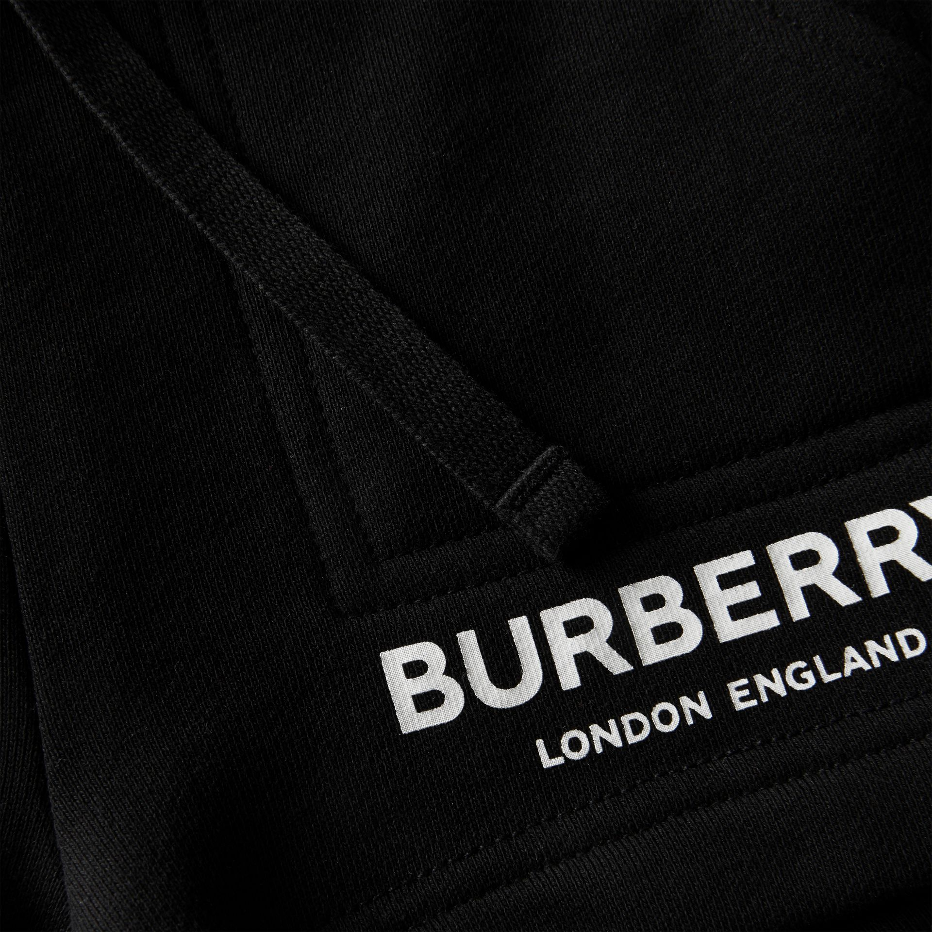 Logo Print Cotton Drawcord Shorts in Black - Children | Burberry United Kingdom - gallery image 1
