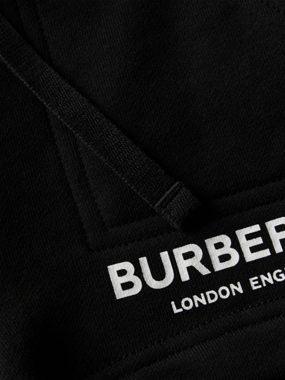 Logo Print Cotton Drawcord Shorts in Black - Children | Burberry United Kingdom - cell image 1