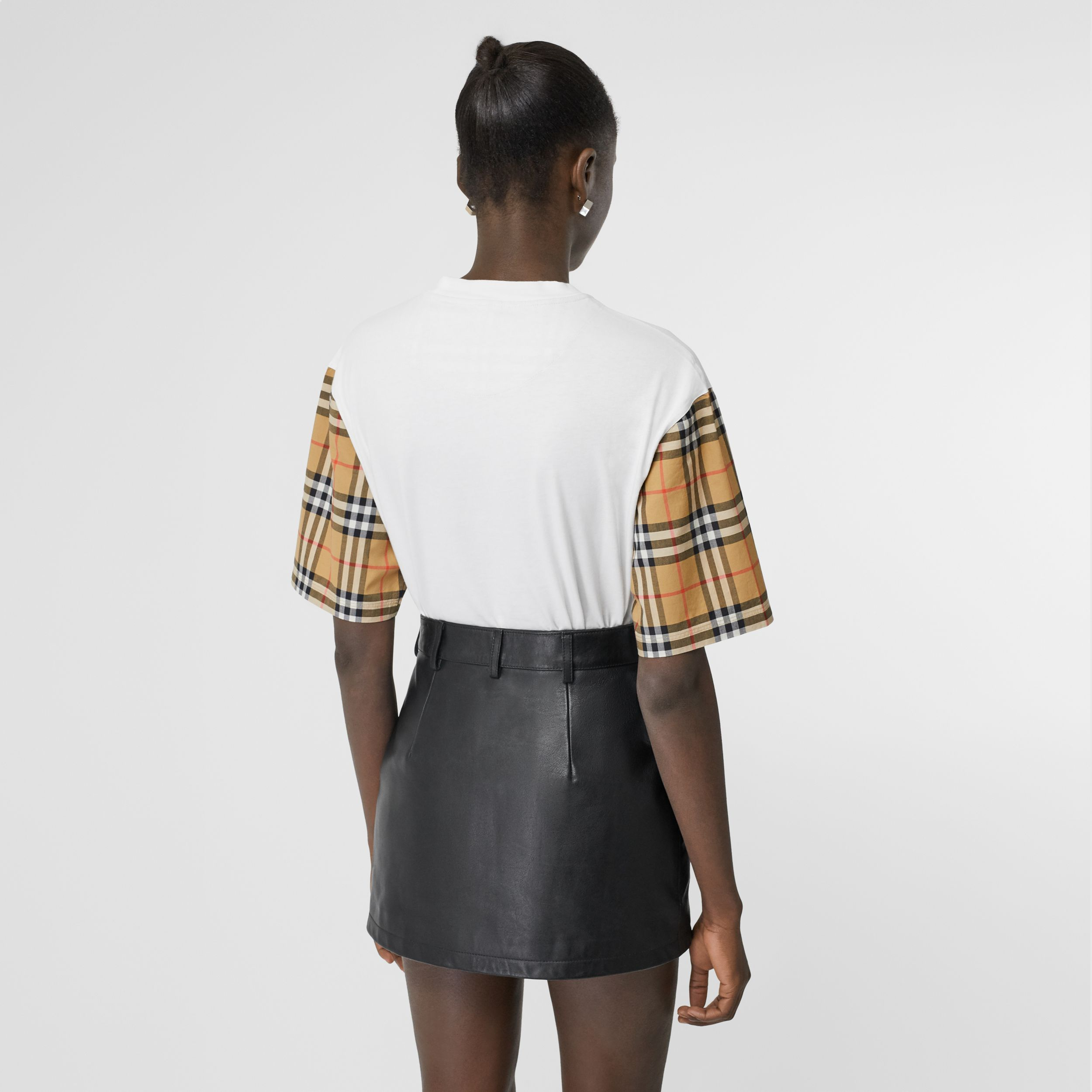 Vintage Check Detail Cotton T-shirt in White - Women | Burberry - 3