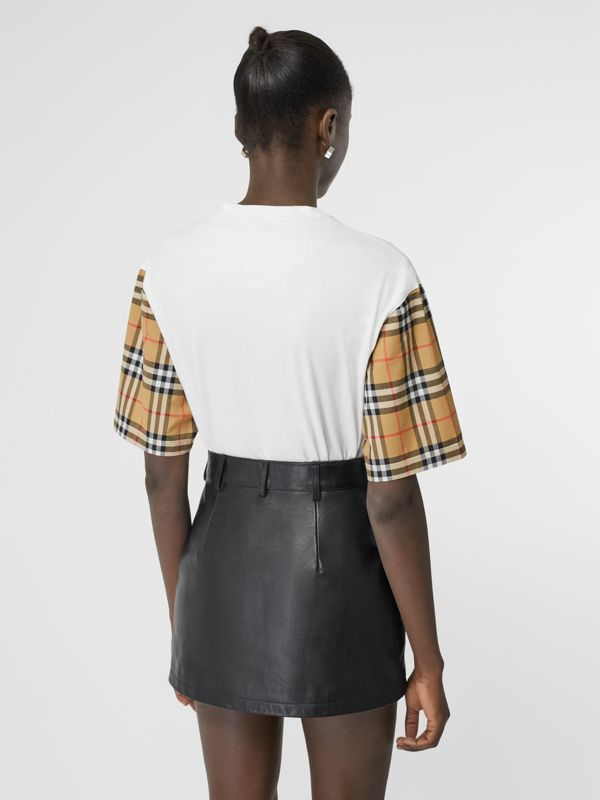 Vintage Check Detail Cotton T-shirt in White - Women | Burberry - cell image 2
