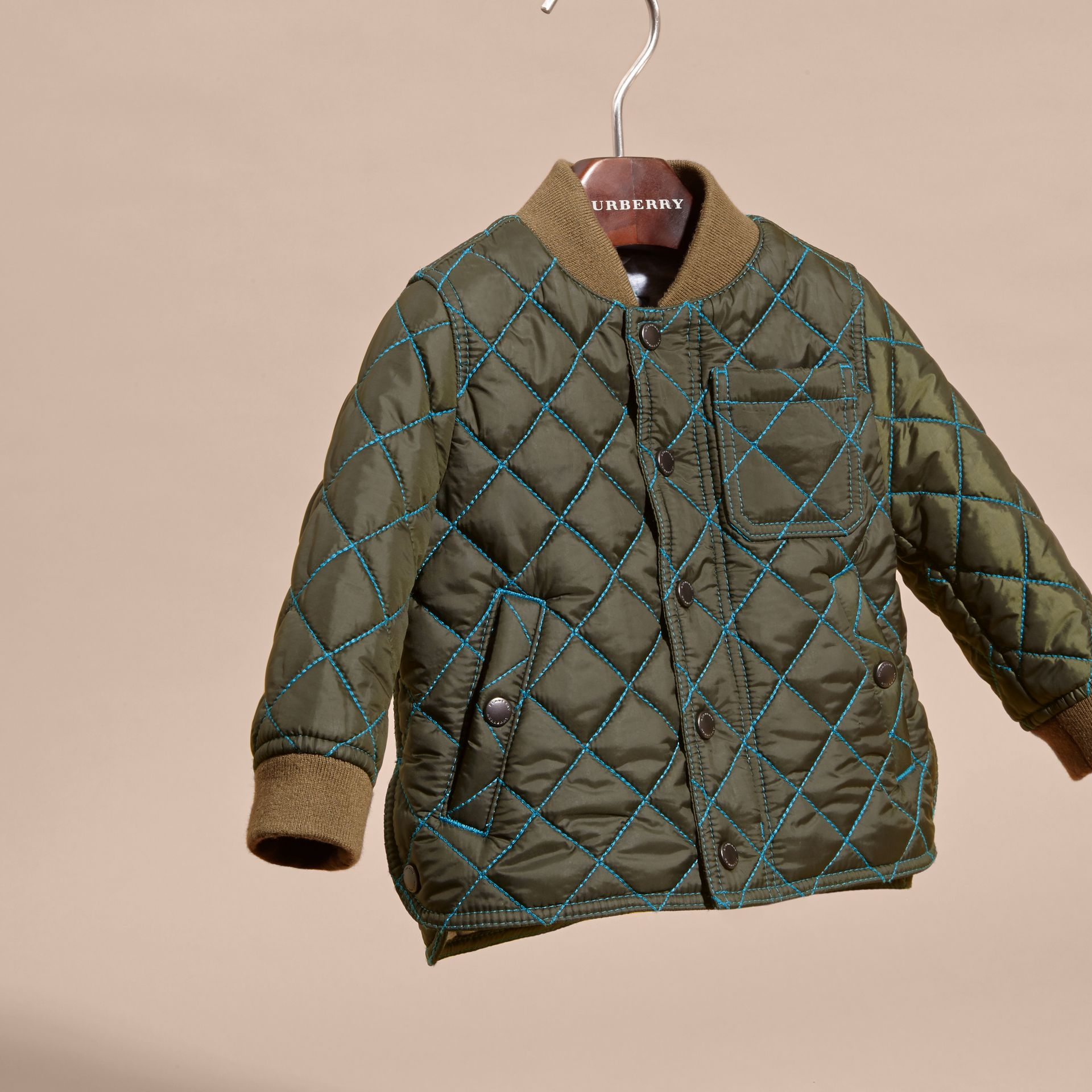 Olive green Contrast Topstitch Diamond Quilted Technical Jacket - gallery image 3