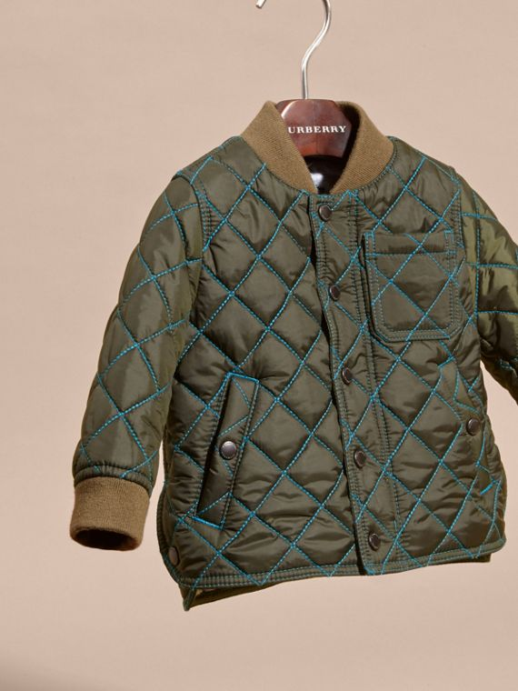 Olive green Contrast Topstitch Diamond Quilted Technical Jacket - cell image 2