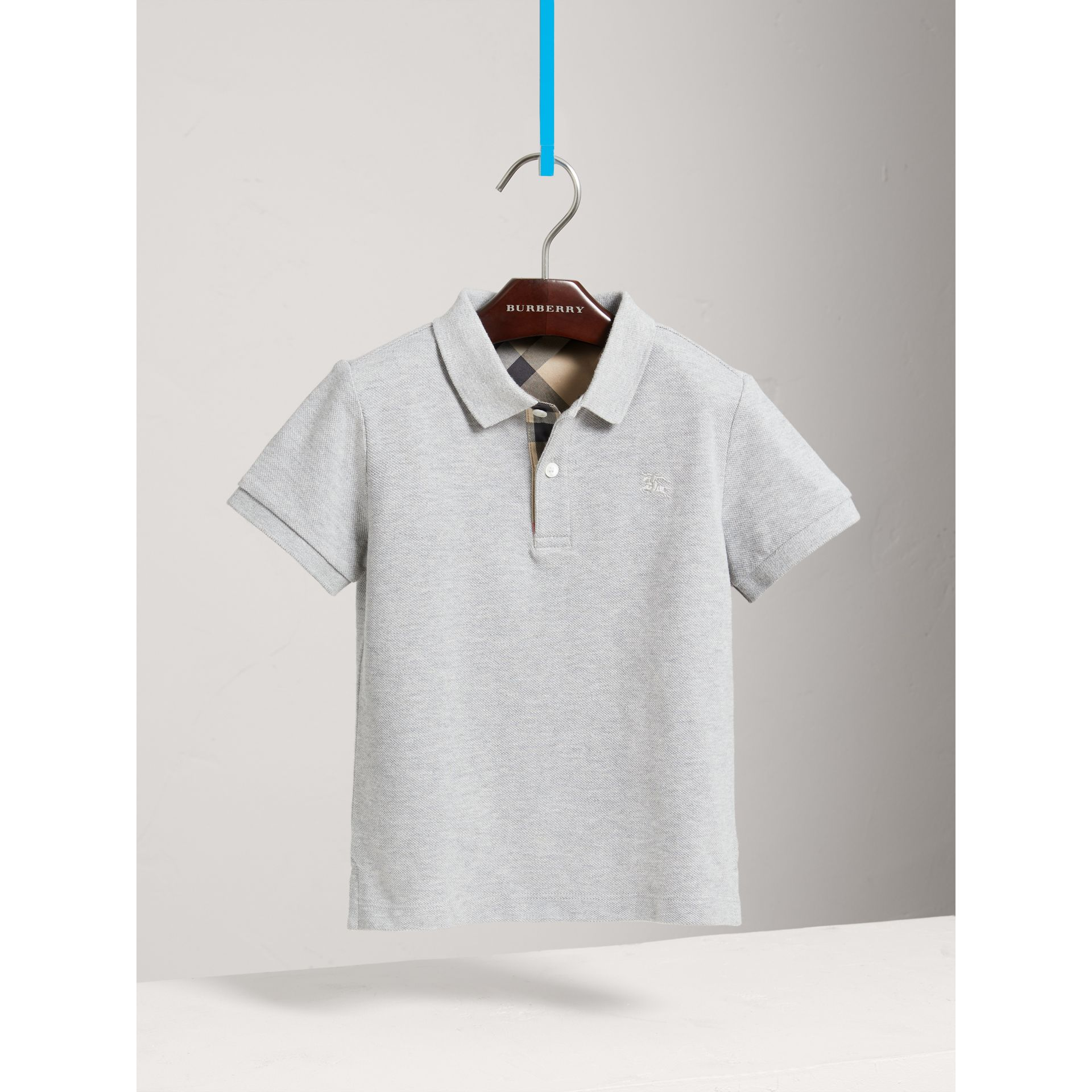 Check Placket Polo Shirt in Pale Grey Melange - Boy | Burberry - gallery image 0