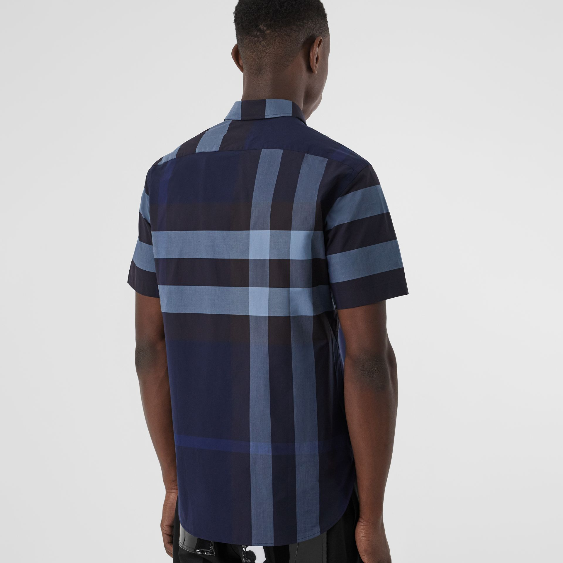 Short-sleeve Check Stretch Cotton Shirt in Bright Navy - Men | Burberry Australia - gallery image 2