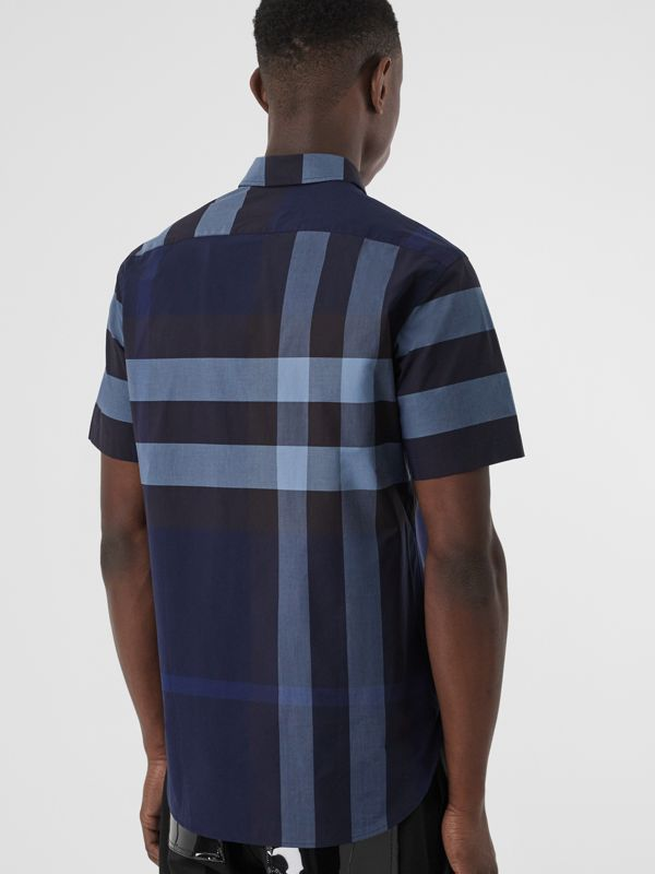 Short-sleeve Check Stretch Cotton Shirt in Bright Navy - Men | Burberry - cell image 2
