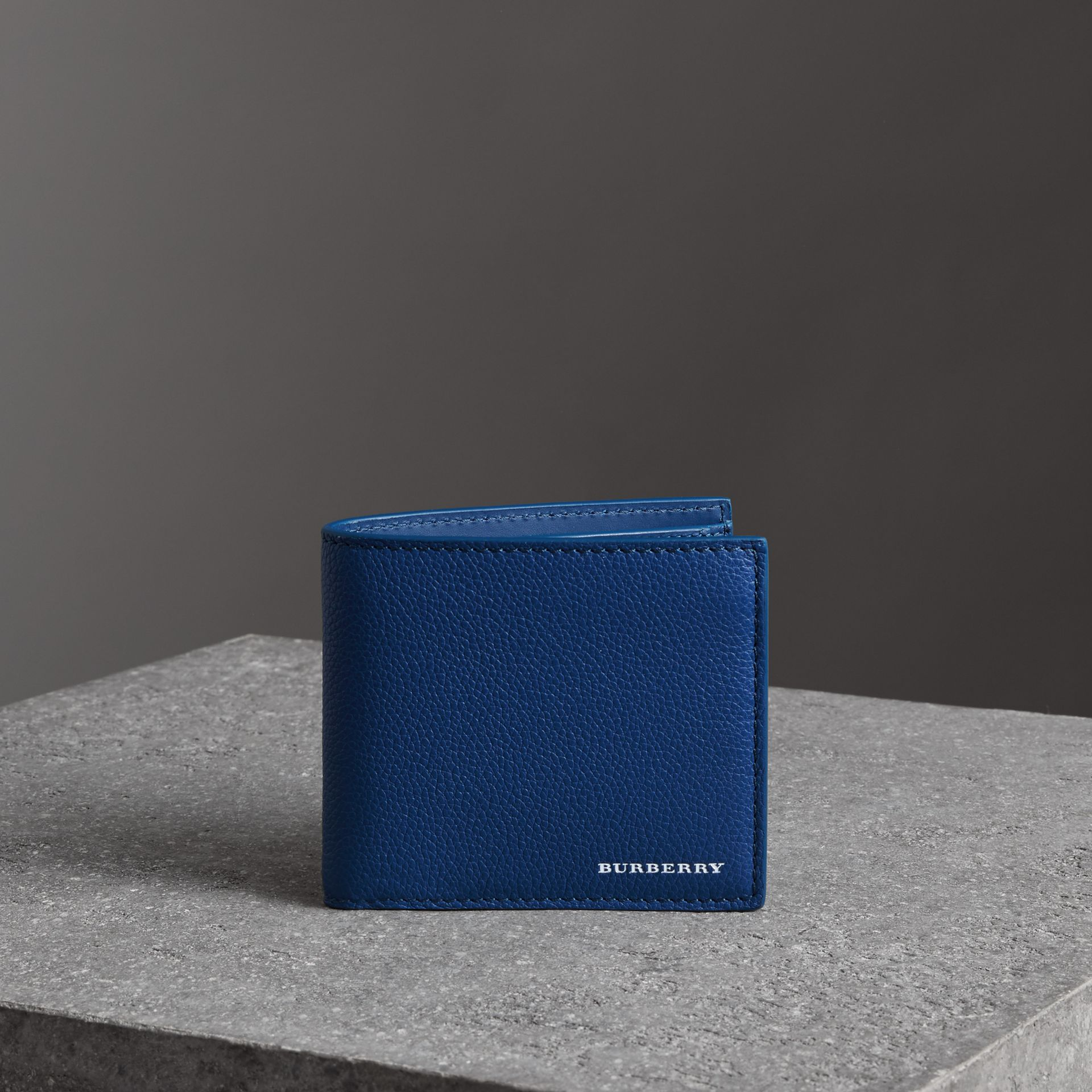 Grainy Leather International Bifold Coin Wallet in Bright Ultramarine - Men | Burberry United Kingdom - gallery image 0