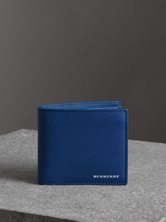 Grainy Leather International Bifold Coin Wallet in Bright Ultramarine