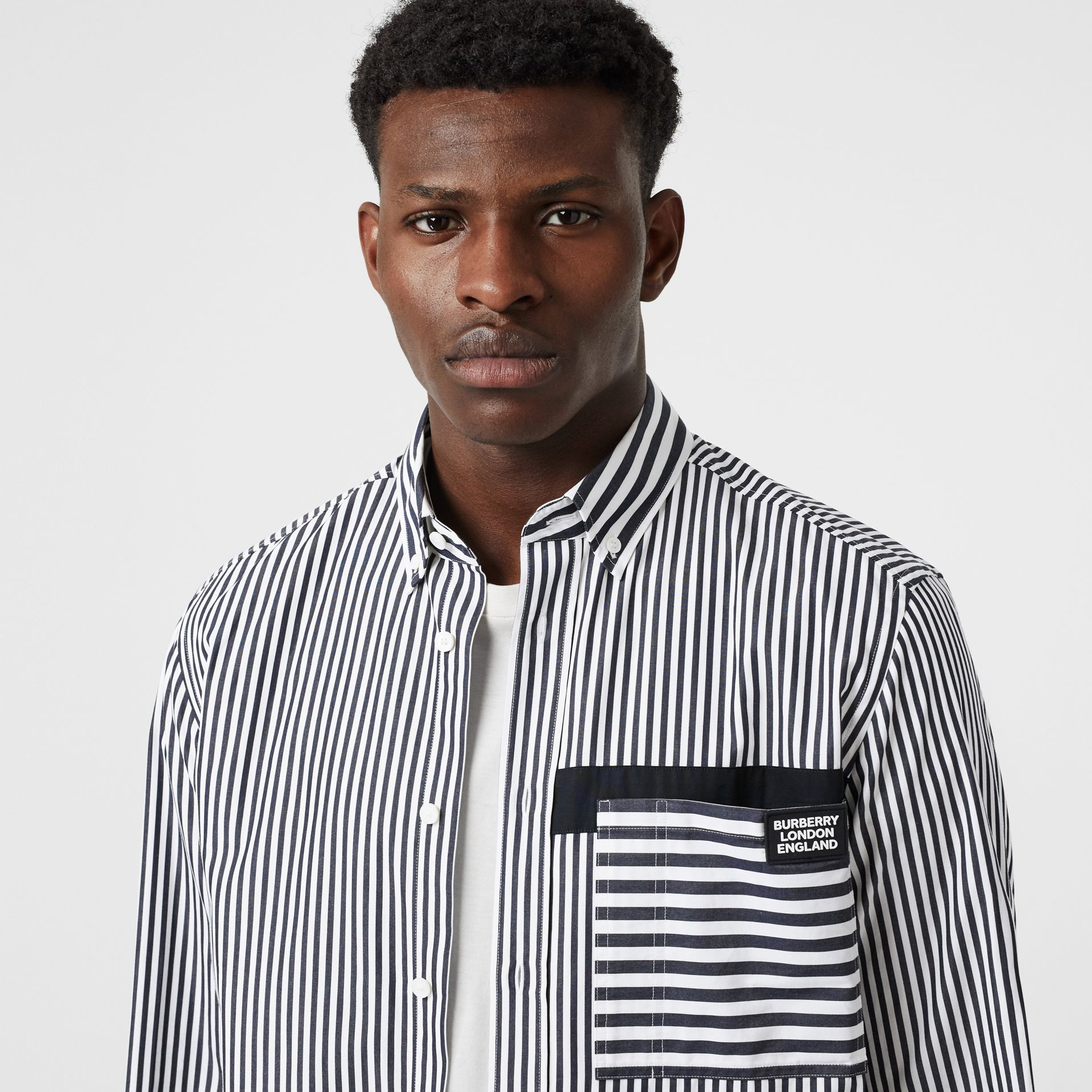 Logo Detail Contrast Stripe Cotton Shirt in Navy - Men | Burberry United Kingdom - gallery image 1