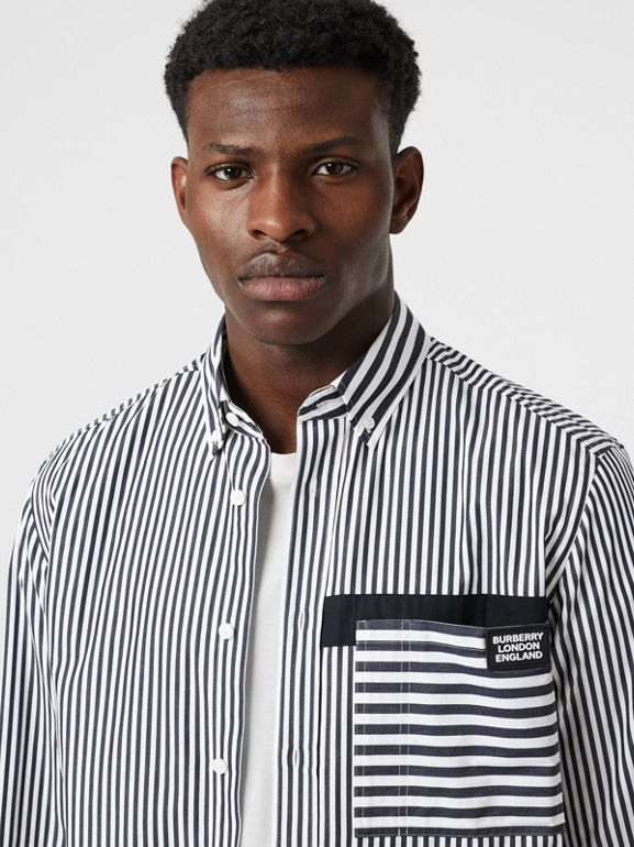Logo Detail Contrast Stripe Cotton Shirt in Navy - Men | Burberry United Kingdom - cell image 1