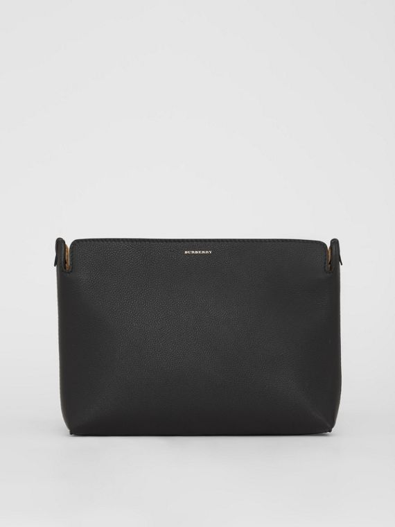 The Medium Tri-tone Leather Clutch in Black/sea Green