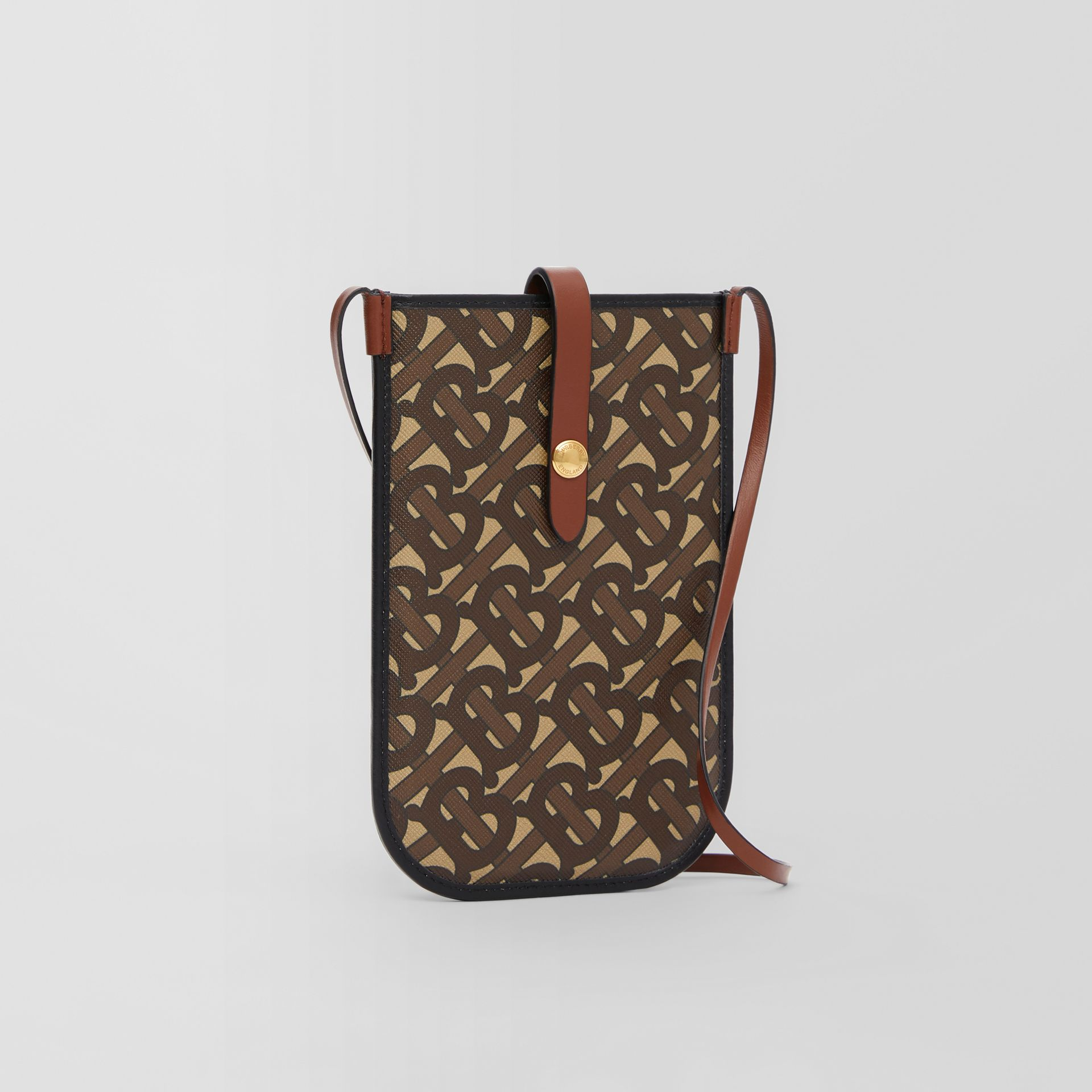 Monogram Print E-canvas Phone Case with Strap in Bridle Brown | Burberry - gallery image 8