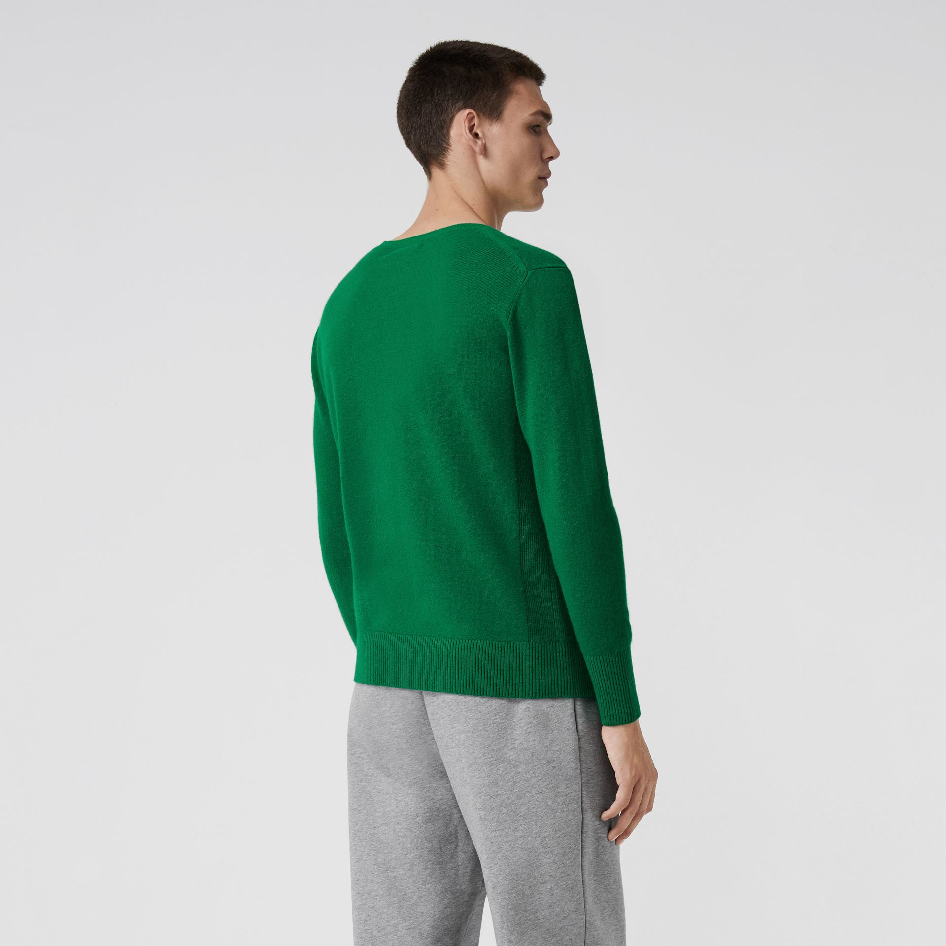 Embroidered Archive Logo Cashmere Sweater in Bright Green - Men | Burberry Singapore - gallery image 2