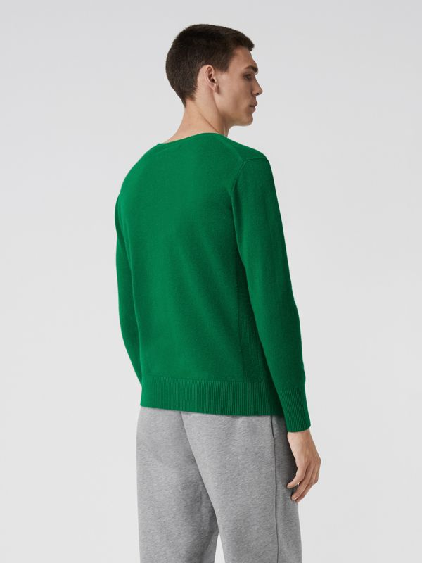 Embroidered Archive Logo Cashmere Sweater in Bright Green - Men | Burberry Singapore - cell image 2